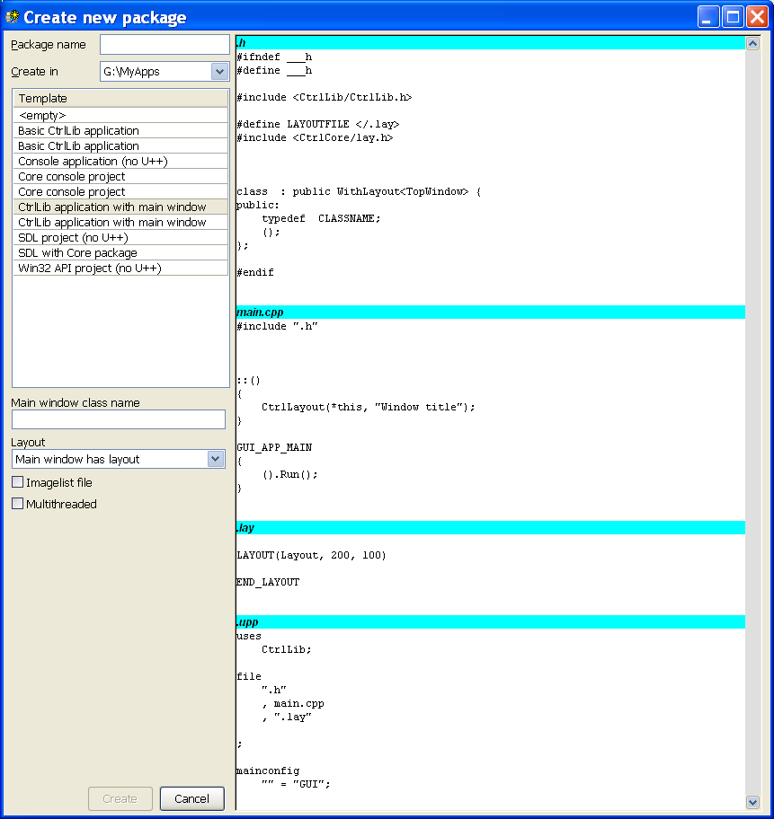 Configuring Packages and Assemblies :: Ultimate++