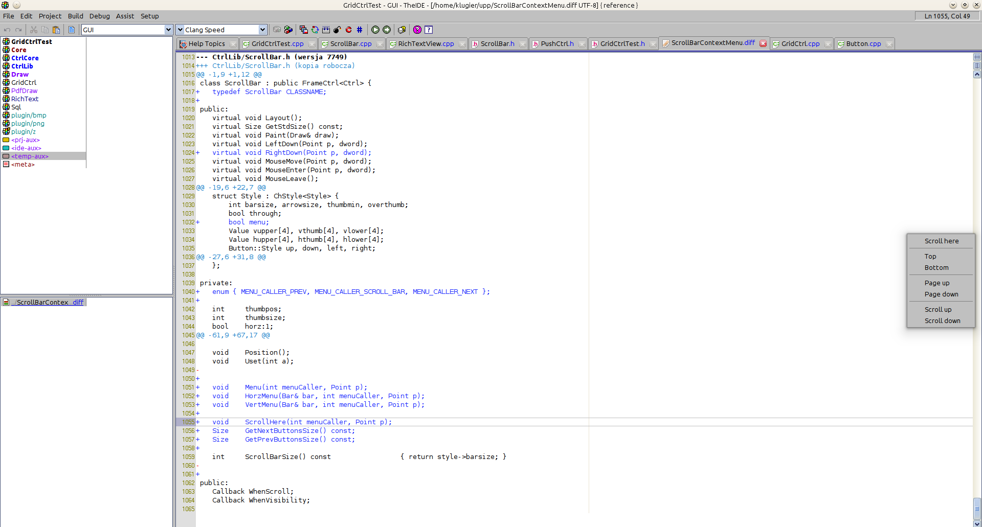 Feature #879: [Scrollbar] Scrollbar should have context menu - U++